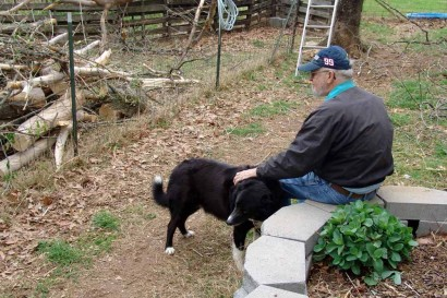 The Farmer with Toby, our Farm Collie.