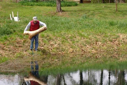 The Farmer throwing a log into the pond.