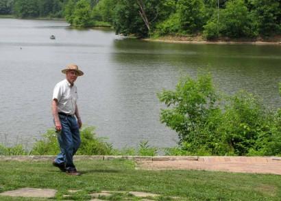 Dad in front of Salt Fork Reservoir