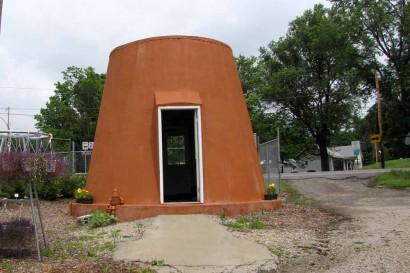 Building Shaped Like Clay Flowerpot