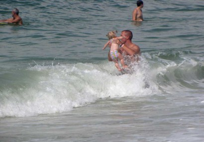 Playing in the waves at Panama City Beach, Florida.