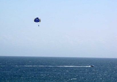 Parasailing above the Gulf of Mexico.