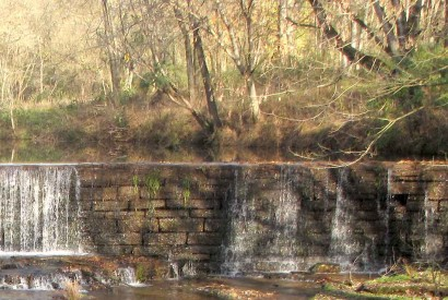 Stone Dam across Factory Creek in Belvidere, Tennessee.