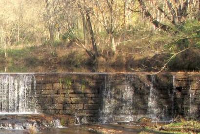 Stone Dam across Factory Creek in Belvidere, Tennessee.