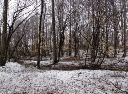Slue and snowy ground.