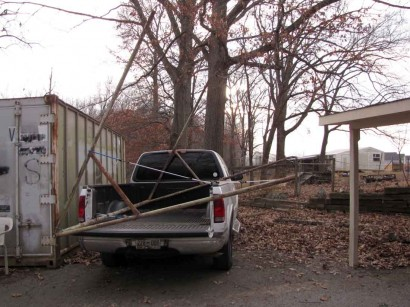 pictue of swingset frame in bed of truck