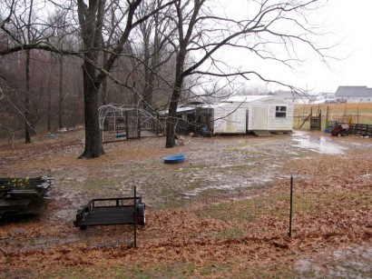 picture of back yard with heavy rain