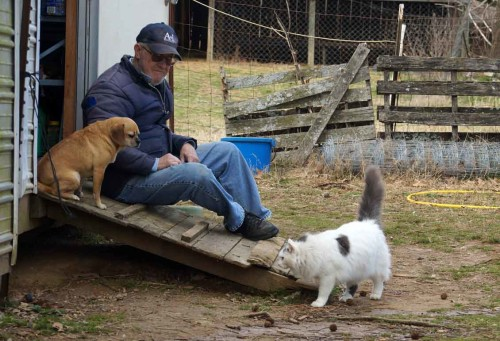 pic of man, dog and cat